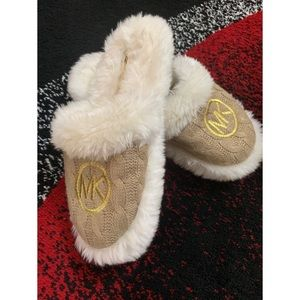Michael Kors fuzzy knit slippers